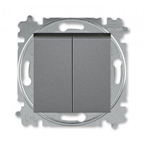Выключатель 2-кл. Levit сталь/дым. черн. ABB 2CHH590545A6069