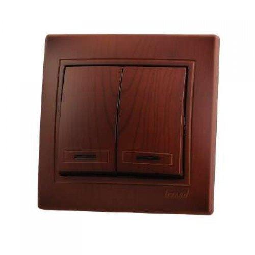 Выключатель 2-кл. СП Мира с подсветкой вишня Lezard 701-0601-112