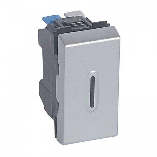 Выключатель кнопочный СП 2мод. 6А с подсветкой Mosaic алюм. Leg 079232