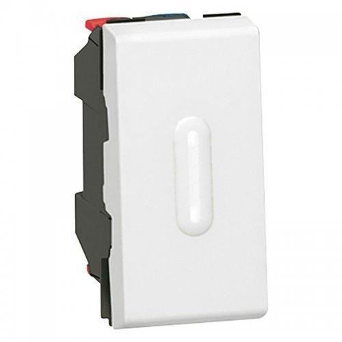 Механизм выключателя кнопочного 1-кл. 1п 1мод. СП Mosaic 6А с светодиод. подсветкой бел. Leg 077032