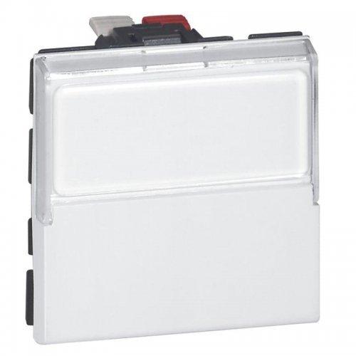 Механизм выключателя кнопочного 1-кл. 2п 2мод. СП Mosaic 6А перекидн. с держателем этикетки бел. Leg 077043