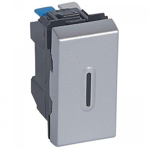 Механизм выключателя 1-кл. 1мод. СП Mosaic NEW 10А IP31 с подсветкой алюм. Leg 079202