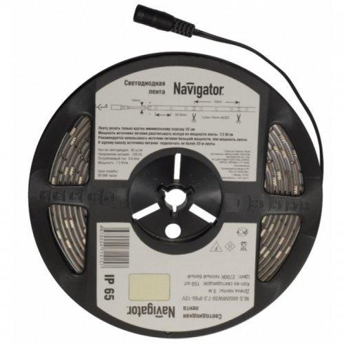 Лента светодиодная 71 426 NLS-5050WW60-14.4 IP20 12B R5 14.4Вт/м (уп.5м) Navigator 71426