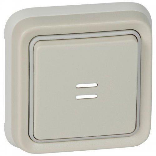 Выключатель кнопочный СП PLEXO 10А НО+НЗ с подсветкой с ламп. бел. Leg 069861