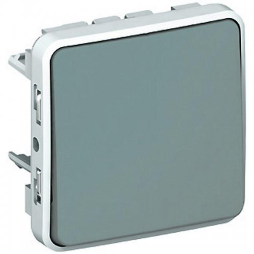 Выключатель кнопочный СП PLEXO 10А НО+НЗ сер. Leg 069541