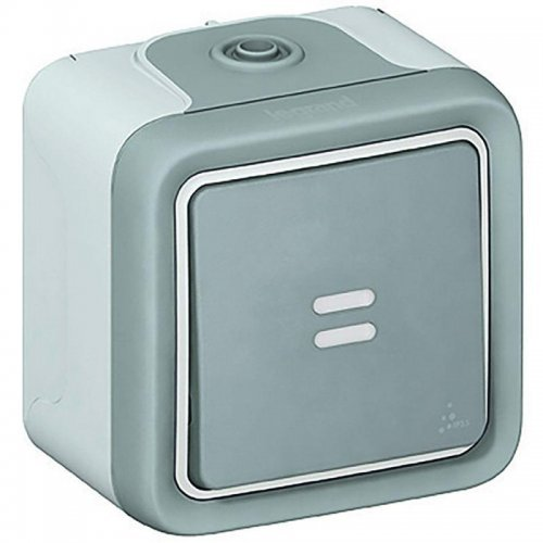 Выключатель кнопочный 1-кл. ОП PLEXO IP55 с подсветкой 10А с ламп. Leg 069722