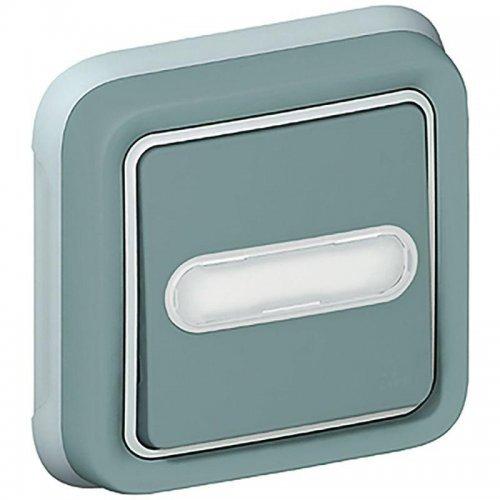 Выключатель кнопочный 1-м СП PLEXO с подсветкой 10А с держ. этикетки с ламп. сер. Leg 069824