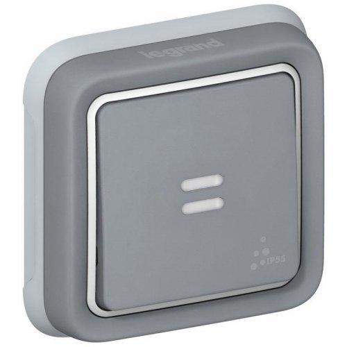 Выключатель кнопочный 1-м СП PLEXO с подсветкой 10А с ламп. сер. Leg 069821