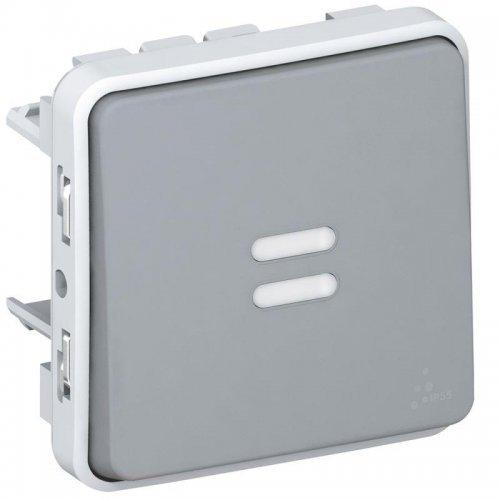 Выключатель кнопочный СП PLEXO 10А НО с подсветкой сер. Leg 069542