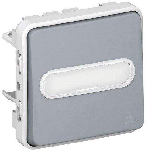 Выключатель кнопочный СП PLEXO 10А НО с этик. сер. Leg 069543