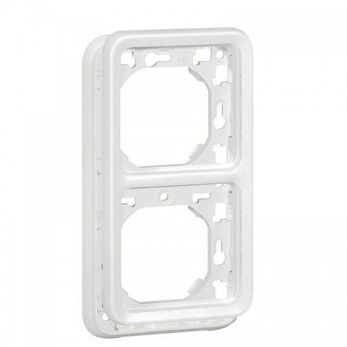 Рамка 2-м Plexo Artic верт. с суппортом для скрыт. монтажа бел. Leg 070749