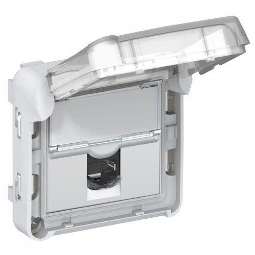 Механизм розетки СП Plexo RJ45 кат. 5e UTP LCS IP55 с закрытым клапаном IK 07 Leg 069556