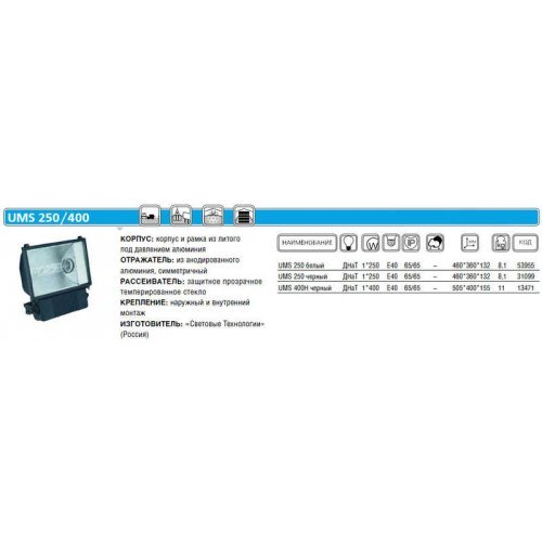 Прожектор UMS 400H 400Вт E40 IP65 черн. СТ 1351000840