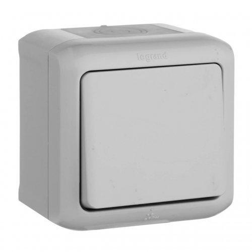 Выключатель кнопочный 1-кл. ОП 6А Quteo IP44 сер. Leg 782335