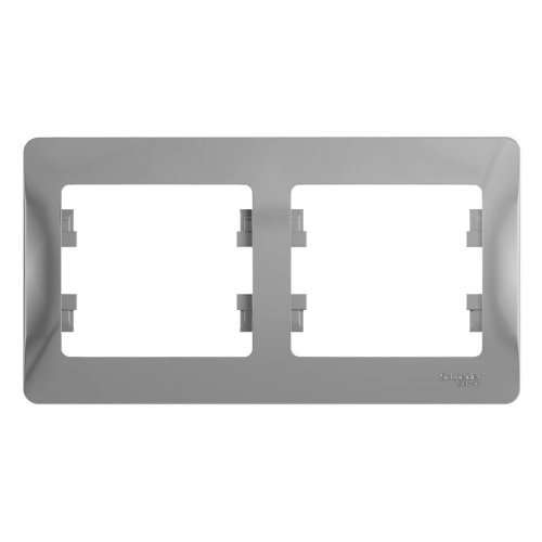 GLOSSA Рамка горизонтальная 2 поста алюминий