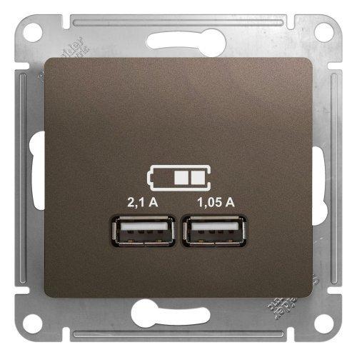 Механизм розетки USB 1-м СП Glossa 5В/2100мА 2х5В/1050мА шоколад SchE GSL000833