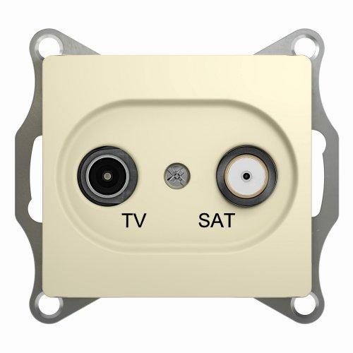 GLOSSA Розетка телевизионная TV-SAT одиночная в рамку 1дБ бежевая