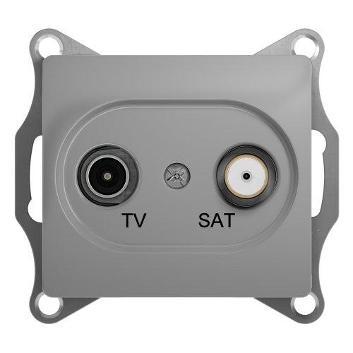 GLOSSA Розетка телевизионная TV-SAT одиночная в рамку 1дБ алюминий