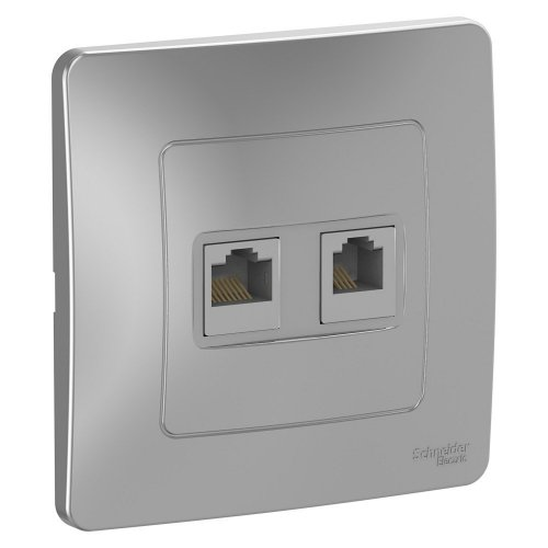 BLANCA скрытой установки розетка двойная компьютерная+телефон, алюминий