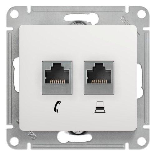 GLOSSA Розетка телефон/компьютер RJ11+RJ45 категория 5е в рамку белая
