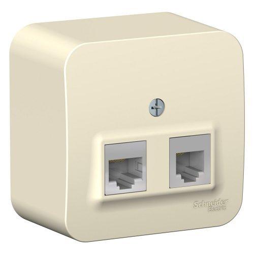 BLANCA розетка наружная двойная комп.RJ45+телеф. RJ11, кат.5e, изол.пл.,молочный