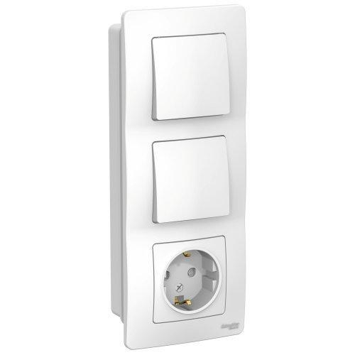 BLANCA скрытой установки блок: розет з/к шт 16А, 250В+выкл 1кл.с подсв+выкл 1кл.белый