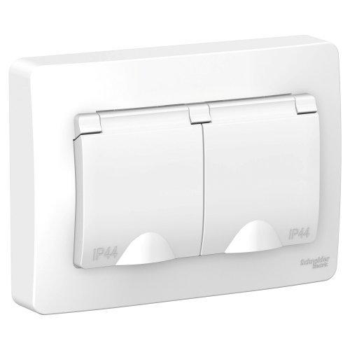 BLANCA скрытой установки ip 44 розетка двойная с заземл. со шторк., 16А, 250В, белый