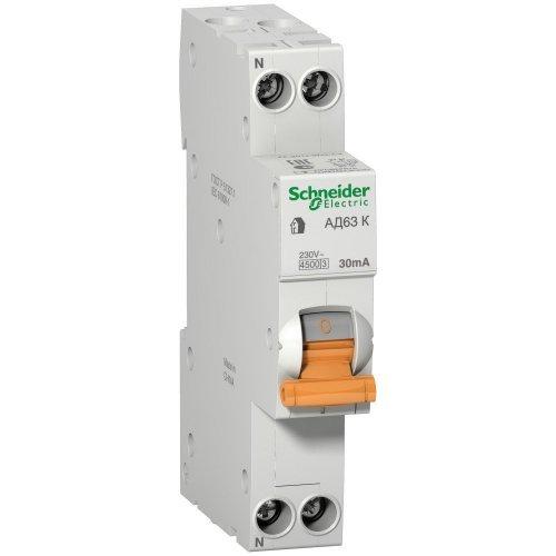 Выключатель автоматический дифференциального тока 2п (1P+N) C 16А 30мА тип AC 4.5кА АД63 К Домовой SchE 12522