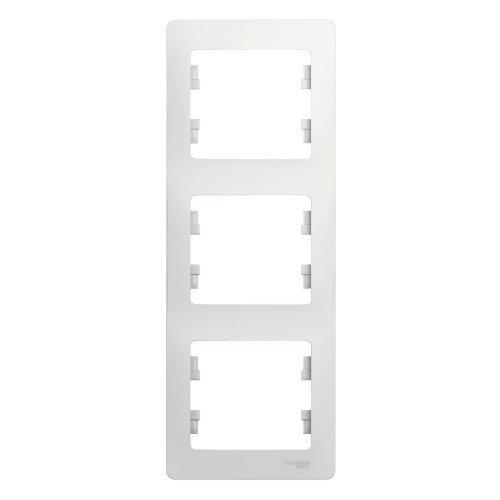 GLOSSA Рамка 3 поста вертикальная белая