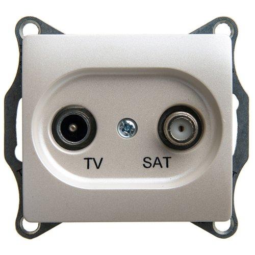 Механизм розетки TV-SAT Glossa 4DB проходной перламутр SchE GSL000698