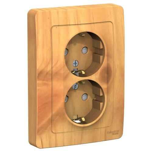 BLANCA скрытой установки розетка двойная с заземлением со шторками, 16А, 250В, ясень