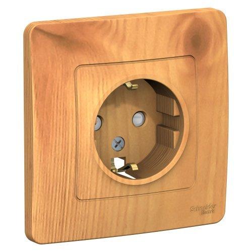 BLANCA скрытой установки розетка с заземлением со шторками, 16А, 250В, ясень