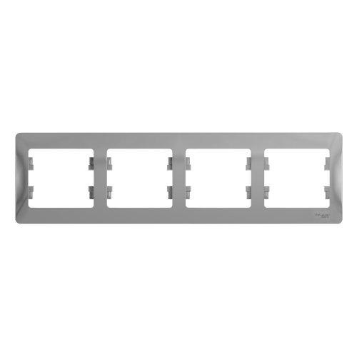 GLOSSA Рамка горизонтальная 4 поста алюминий
