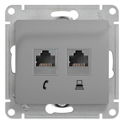 GLOSSA Розетка телефон/компьютер RJ11+RJ45 категория 5е в рамку алюминий
