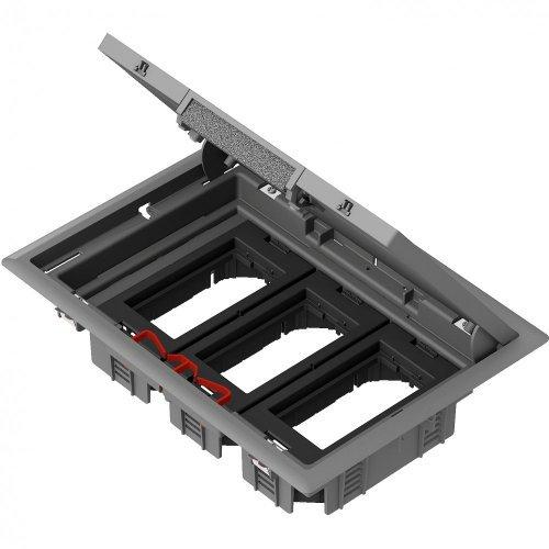 Лючок напольный 3 суппорта на 6 модулей 45х45 серый