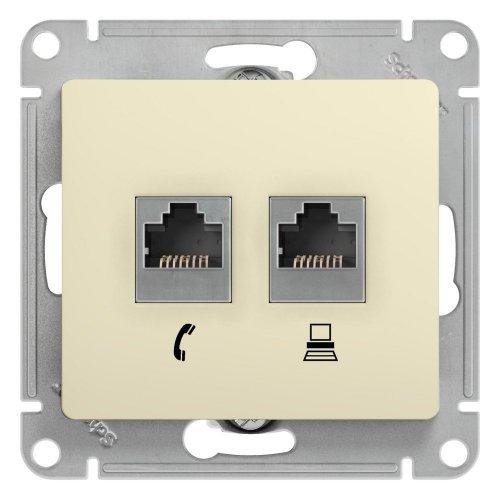 GLOSSA Розетка телефон/компьютер RJ11+RJ45 категория 5е в рамку бежевая