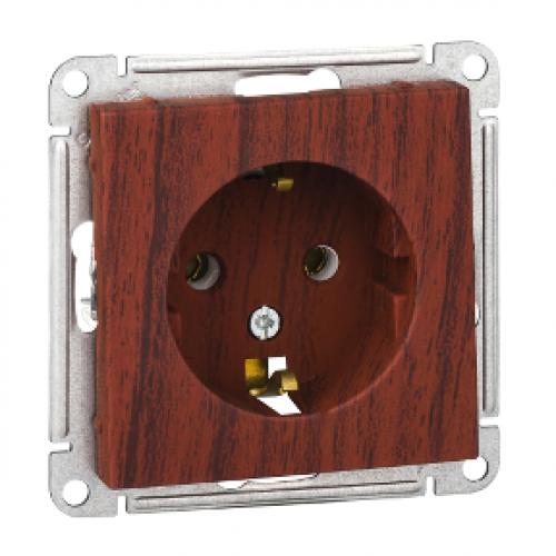 W59 Розетка с заземлением без шторок, 16А, механизм, мореный дуб