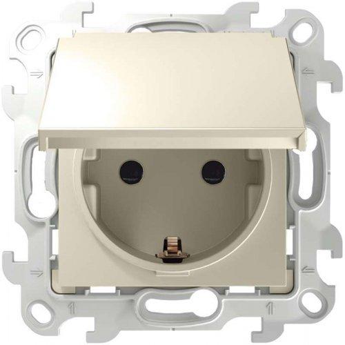 Механизм розетки 2К+З Schuko IP44 Simon24 сл. кость 2450448-031