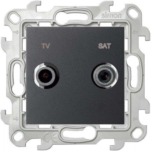 Механизм розетки TV-SAT проходная Simon24 графит 2410485-038