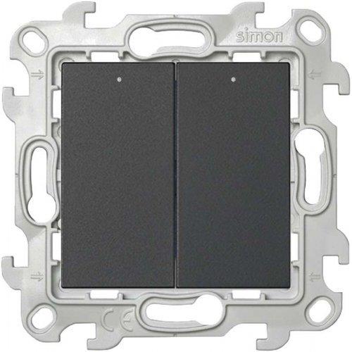 Механизм выключателя 2-кл. с подвсеткой Simon24 графит 2450392-038