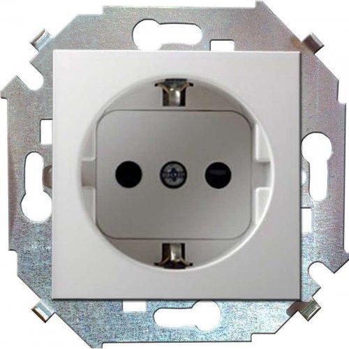 Механизм розетки 1-м СП Simon15 защ. шторки с заземл. бел. Simon 1591443-030