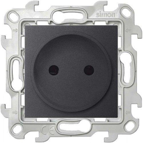 Механизм розетки 2К с защ. шторками Simon24 графит 2450441-038