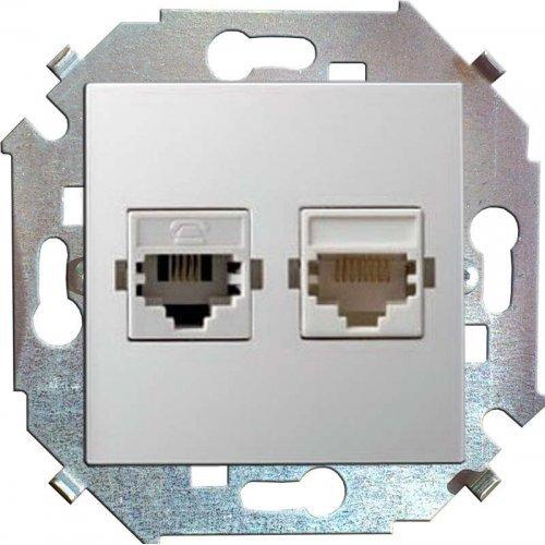 Механизм розетки комп. СП Simon15 2мод. RJ45 + RJ45 бел. Simon 1591593-030