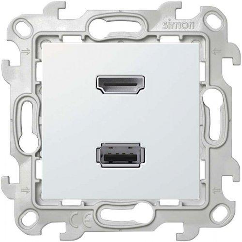 Механизм коннектора HDMI+USB 2.0 Simon24 бел. 2411095-030
