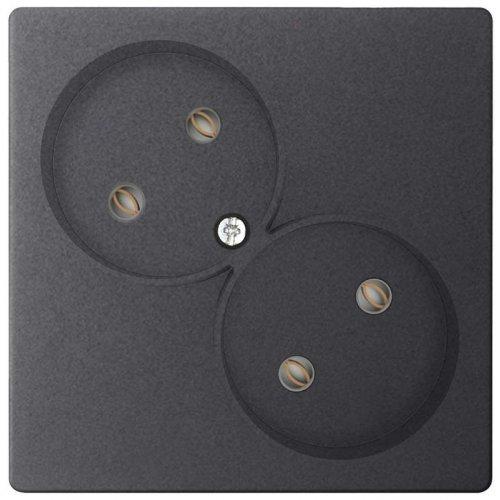 Механизм розетки 2х2К без защ. шторок Simon24 графит 2450457-038