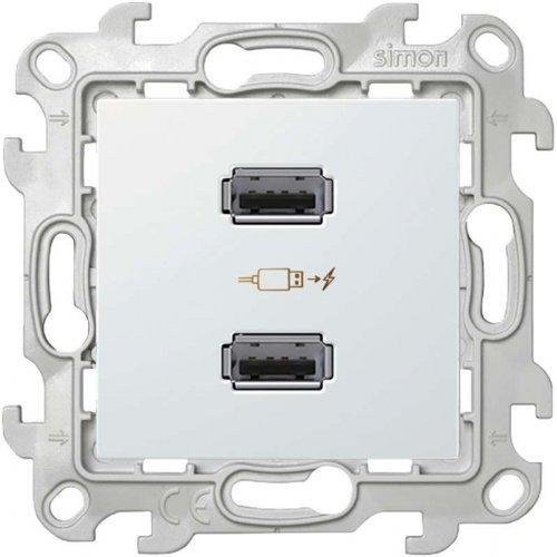 Механизм зарядного устройства розетка 2хUSB Simon24 бел. 2411096-030