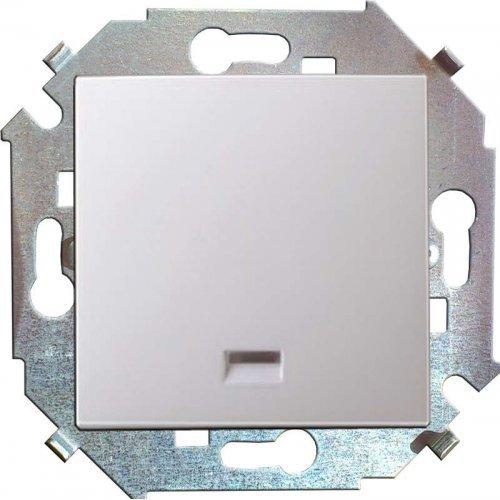 Механизм кнопки клавишной 1-м СП с подсветкой 16А Simon15 бел. 1591160-030
