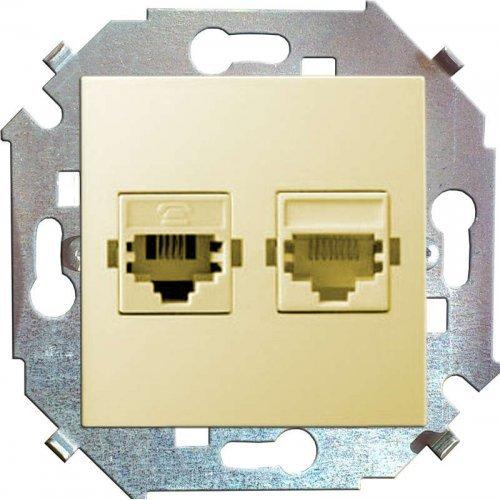 Механизм розетки комп. СП Simon15 2мод. RJ45 + RJ45 сл. кость Simon 1591593-031