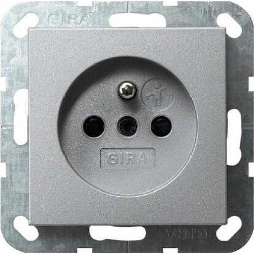 Розетка Gira System 55 с/з со шторками 16A 250V безвинтовой зажим алюминий 048526