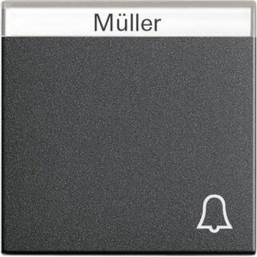 Лицевая панель Gira System 55 выключателя с полем для надписи Звонок антрацит 067328